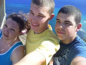 On Diamondhead Volcano with my College Son and Married Son
